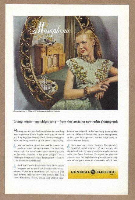 1946 G-E Musiphonic Radio Phonograph Vintage Print Ad