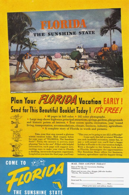 1948 FLORIDA Travel Vintage Print Advertisement