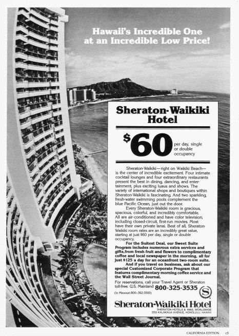 1981 SHERATON Hotel Waikiki Hawaii Magazine Print Ad