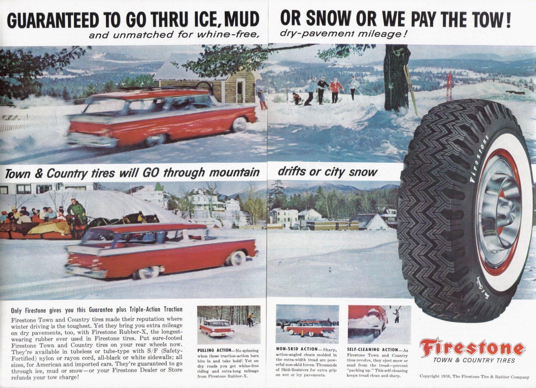 1959 FIRESTONE Tires Magazine Print Ad