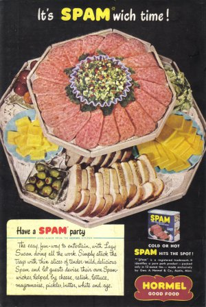 1947 SPAM Hormel Canned Ham Magazine Print Ad