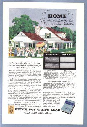1938 DUTCH BOY HOUSE PAINT Vintage Print Ad