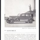 1934 LINCOLN BROUGHAM Vintage Auto Print Ad