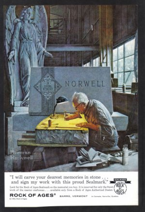 1963 NORMAN ROCKWELL Vintage Rock of Ages Print Ad
