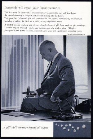 1960 DE BEERS DIAMONDS Vintage Magazine Print Ad