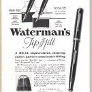 1933 WATERMAN'S PENS Vintage Magazine Print Ad