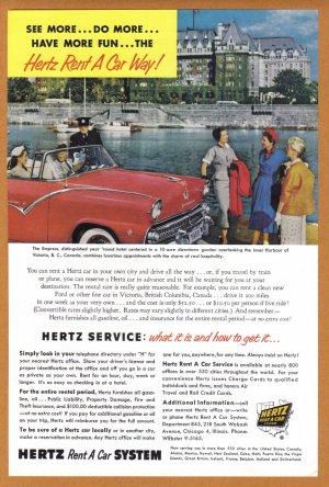 1955 HERTZ Rent A Car Vintage Print Ad