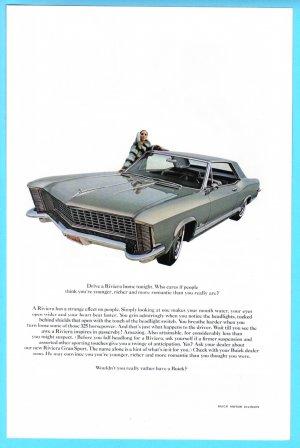 1965 BUICK RIVIERA Vintage Auto Print Ad