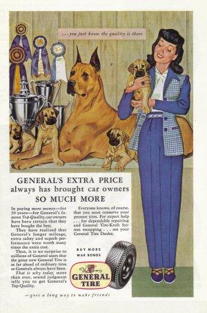 1944 GENERAL TIRES Vintage Print Ad