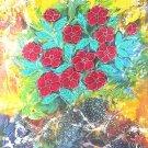 Original Batik Art Painting on Cotton, 'Flowers' by Kapitan (75cm x 90cm)