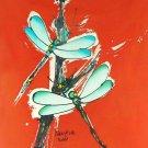 Original Batik Art Painting on Cotton, 'Dragonfly' by Taufik (45cm x 50cm)