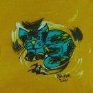 Original Batik Art Painting on Cotton, 'Cat' by Taufik (45cm x 50cm)