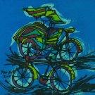 Original Batik Art Painting on Cotton, 'Bicycle and Rickshaw' by Taufik (30cm x 30cm)