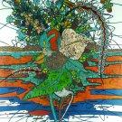 Original Batik Art Painting on Cotton, 'Plants on Water' by M. Yono (75cm x 90cm)