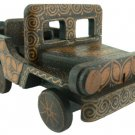 Hand-crafted Wooden Miniature Vintage Car with Batik Motive, Jeep Willys (Scale 1:22)