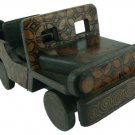 Hand-crafted Wooden Miniature Vintage Car with Batik Motive, Jeep Willys (Scale 1:16)
