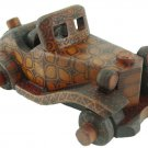 Hand-crafted Wooden Vintage Car with Batik Motive, Mercedes-Benz 500k Special Roadster (Scale 1:27)