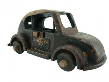 Hand-crafted Wooden Miniature Vintage Car with Batik Motive, Volkswagen Beetle (Scale 1:21)