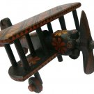Hand-crafted Wooden Miniature Vintage Propeller Biplane with Batik Motive (Scale 1:31)