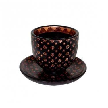 Hand-crafted Wooden Cup and Saucer with Batik Motives