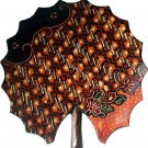Hand-crafted Lotus Leaf Shaped Wooden Platter with Batik Motives (15.5cm Diameter)