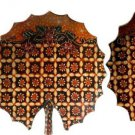 Hand-crafted Lotus Leaf Shaped Wooden Platters with Batik Motives (Set of 3)