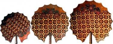 Hand-crafted Lotus Leaf Shaped Wooden Platters with Batik Motives (Set of 3)