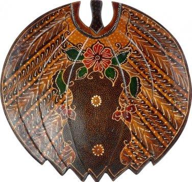 Hand-crafted Banana shaped Wooden Platter with Batik Motives