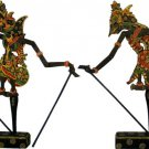 Hand-crafted Wood Shadow Puppet (Wayang Kulit) with Batik Motives, Rama & Sita of Ramayana Epic (S)
