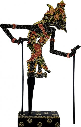 Hand-crafted Wood Shadow Puppet (Wayang Kulit) with Batik Motives, Sita of Ramayana Epic (M)