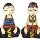 Hand-crafted Wood Figurine with Batik Motives, Couple in Traditional Costumes