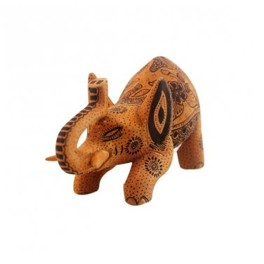 Hand-crafted Wood Figurine with Batik Motives, Crounching Elephant