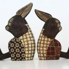 Hand-crafted Wood Figurine with Batik Motives, Shaking-legs Rabbit (Set of 2)