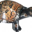 Hand-crafted Wood Figurine with Batik Motives, Longevity Tortoise