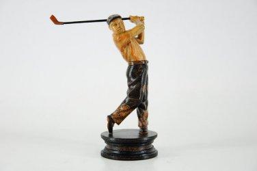 Hand-crafted Wood Figurine with Batik Motives, Golfer