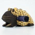 Hand-crafted Wood Figurine with Batik Motives, Croaking Bullfrog (L)