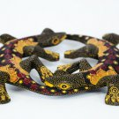 Hand-crafted Wood Figurine with Batik Motives, Twin Gecko