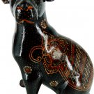 Hand-crafted Wood Figurine with Batik Motives, Sitting Puppy