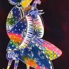 Original Batik Art Painting on Cotton, 'Playing Guitar' by Zabid (45cm x 75cm)