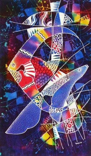 Original Batik Art Painting on Cotton, 'Ocean' by Zabid (45cm x 75cm)