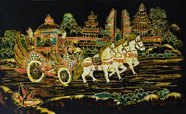 Original Batik Art Painting on Cotton, 'Traditional Horse Chariot' by Wahid (75cm x 45cm)