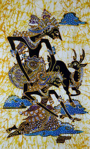 Original Batik Art Painting on Cotton, 'Rama and Sinta' by Wahid (45cm x 75cm)