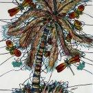 Original Batik Art Painting on Cotton, 'Palm Tree' by M. Yono (75cm x 90cm)