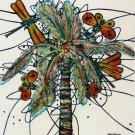 Original Batik Art Painting on Cotton, 'Palm Tree' by M. Yono (45cm x 50cm)