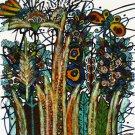 Original Batik Art Painting on Cotton, 'Luxuriant Grass' by M. Yono (45cm x 50cm)