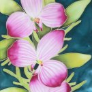 Original Batik Art Painting on Silk, 'Exotic Orchids' by Musa (21cm x 30cm)