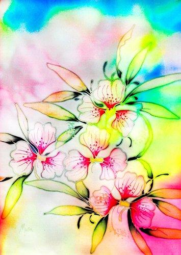 Original Batik Art Painting on Silk, 'Exotic Orchids' by Musa (21cm x 30cm)