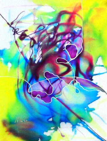 Original Batik Art Painting on Silk, 'Abstract' by Musa (15cm x 20cm)