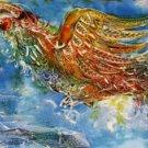 Original Batik Art Painting on Cotton, 'Phoenix' by Kapitan (150cm x 45cm)