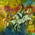 Original Batik Art Painting on Cotton, 'Wild Horses' by Kapitan (75cm x 90cm)